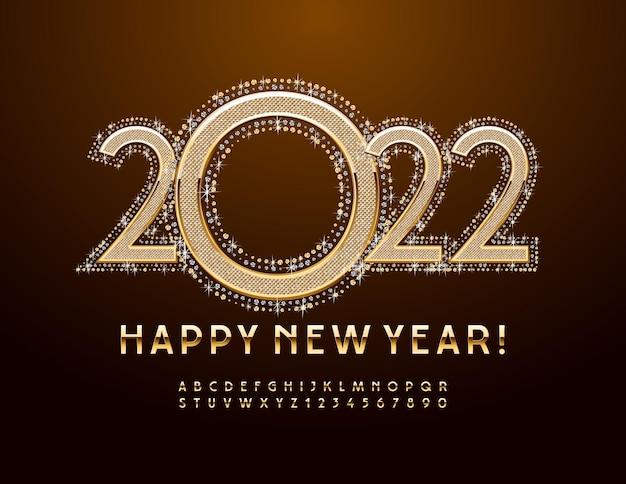 Vector greeting card happy new year 2022 police d'or élégant jeu de lettres et de chiffres de l'alphabet de luxe