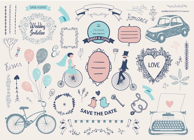 Vector hand drawn doodle love collection illustration sketchy icons big set for valentine s day