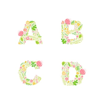 Vector hand drawn monogrammes de lettres majuscules florales ou logo.