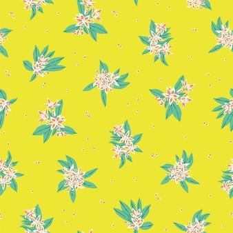 Vector hand drawn petite fleur blanche et motif d'illustration de feuille motif de répétition sans couture