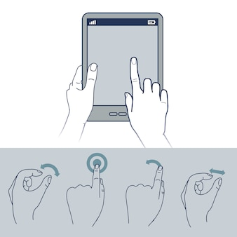 Vector hand icons - illustration de l'interface tactile