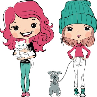 Vector hipster fashion cute girl avec animaux de compagnie