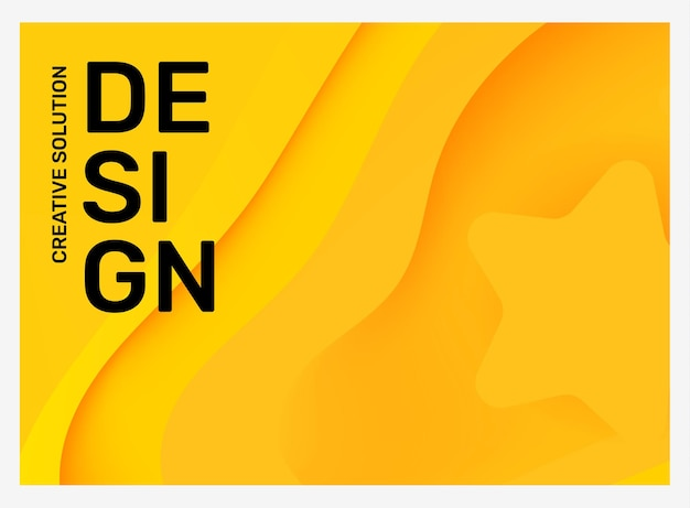 Vector illustration abstraction jaune vif créatif dans le cadre avec style de coupe de papier d'affaires étoile