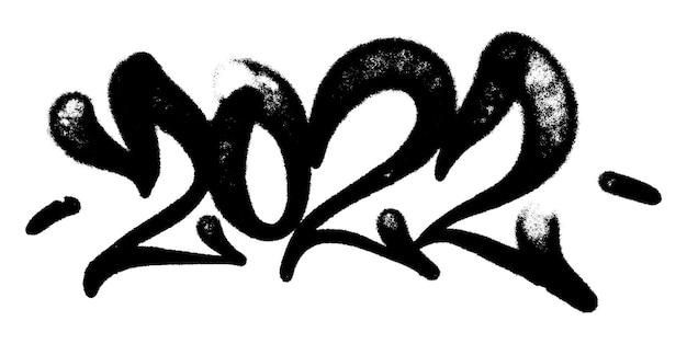 Vector illustration black graffiti tag 2022 lettrage aérosol peut peinture en aérosol