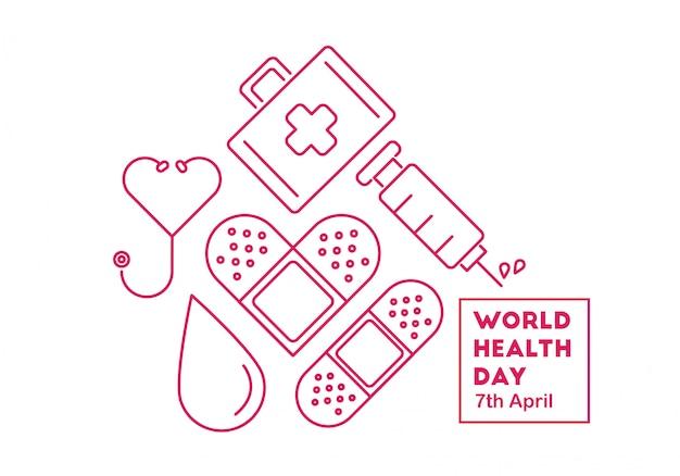 Vector illustration conceptuelle de la journée mondiale de la santé