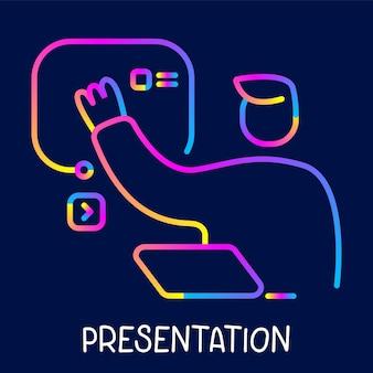 Vector illustration créative couleur néon de l'homme d'affaires avec ordinateur portable touchant l'écran sur le mur