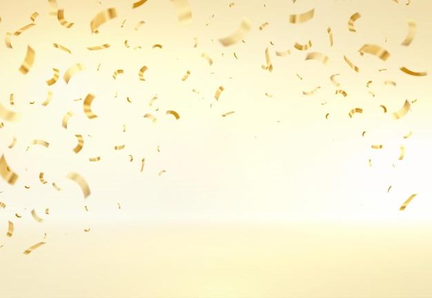 Vector illustration défocalisé confettis or sur fond doré. abstrait de vecteur avec de nombreux petits morceaux de confettis tombant