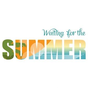 Vector illustration double exposition d'attente pour l'été