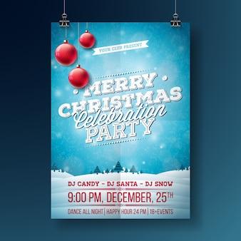 Vector illustration de flyer party joyeux noël avec des éléments de typographie et de vacances sur fond bleu. modèle d'affiche de paysage d'hiver.
