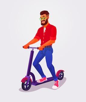 Vector illustration guy using kick scooter