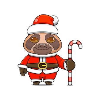 Vector illustration de la mascotte de paresseux monstre mignon portant un costume de père noël tenant une canne en bonbon