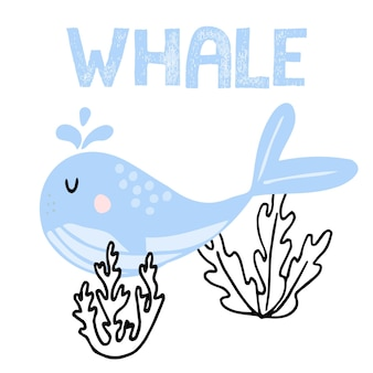 Vector illustration pour enfants dessinée à la main d'une jolie baleine bleue une baleine nageant près des algues