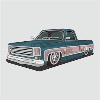 Vector illustration rétro, classique, vintage pick up car, chevrolet