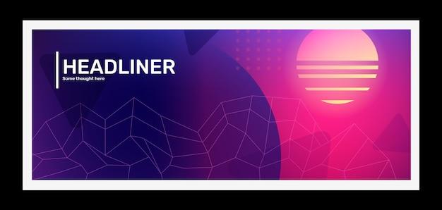 Vector illustration rétro horizontale rose vif et violet créatif avec forme de grille