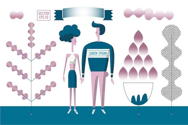 Vector illustration romantique stylisée. homme et femme marchant en plein air dans le parc.