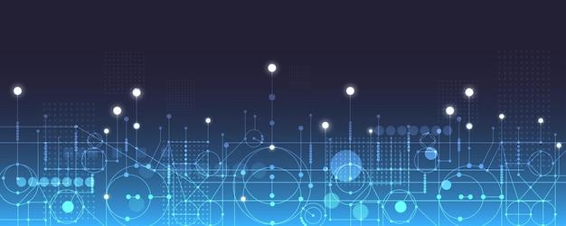 Vector illustration roue dentée blanche sur circuit imprimé hitech technologie numérique et ingénierie technologie futuriste abstraite sur fond de couleur bleue