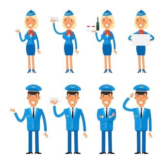 Vector illustration, set caractères hôtesse et pilote, format eps 10