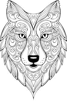 Vector illustration de tête de loup doodle dessinés à la main