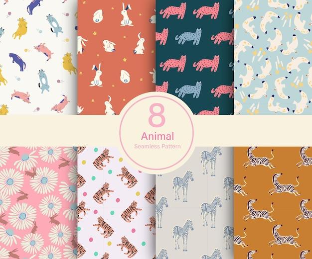 Vector illustration thème animal 8 types de jeu de collection de motifs répétés
