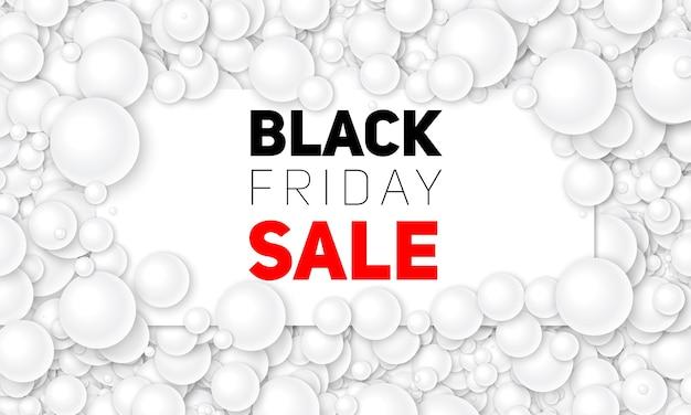 Vector illustration de vente vendredi noir de carte blanche placée dans des perles blanches ou des sphères