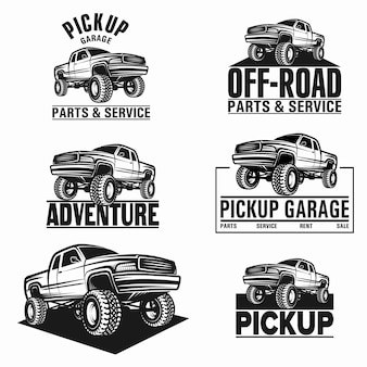Vector illustration voiture camion 4x4 pick-up