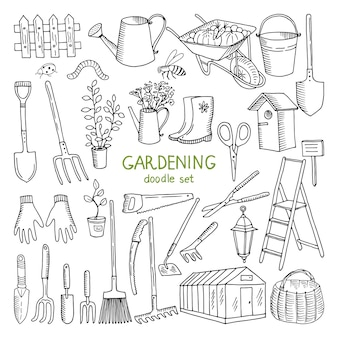 Vector illustrations dessinées à la main de jardinage.