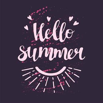 Vector illustrations dessinées à la main plate. lettrage: bonjour l'été.