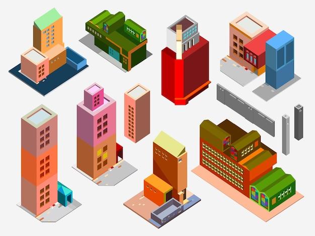 Vector isométrique low poly bâtiments et maisons