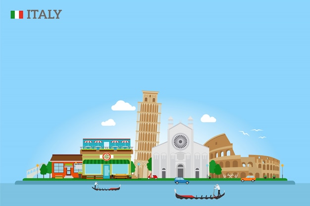 Vector italie skyline et drapeau