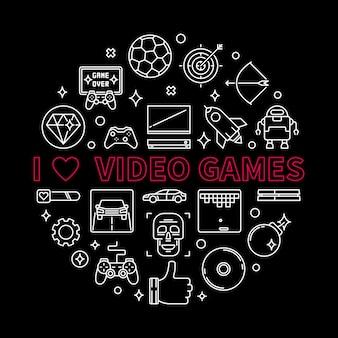 Vector j'aime les jeux vidéo concept rond illustration de contour