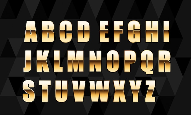 Vector lettres d'or. ensemble d'alphabet d'or
