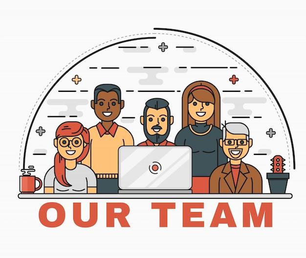 Vector line art illustration d'une équipe commerciale