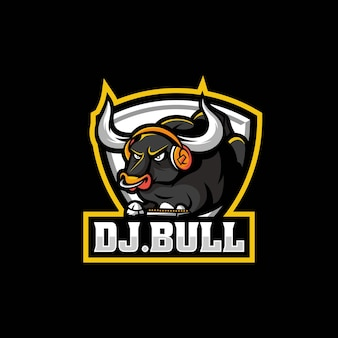 Vector logo illustration bull e sport et style sport