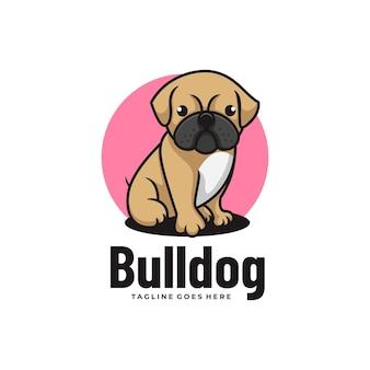 Vector logo illustration bulldog mascot cartoon style.