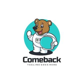 Vector logo illustration come back bear mascot cartoon style.