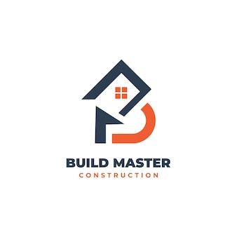 Vector logo illustration construire master style double signification.