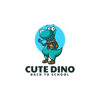 Vector logo illustration dinosaure mascotte dans style dessin animé