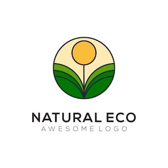 Vector logo illustration eco style mascotte simple