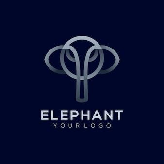 Vector logo illustration éléphant style art ligne argent