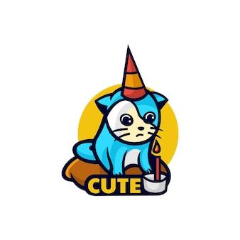 Vector logo illustration gâteau anniversaire mascotte dans style dessin animé