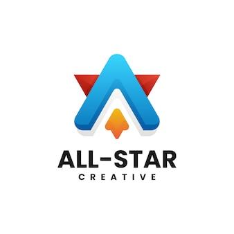 Vector logo illustration lettre un style coloré dégradé étoile