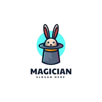 Vector logo illustration magicien lapin mascot cartoon style.