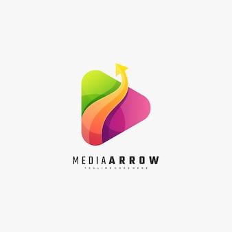 Vector logo illustration media arrow gradient style coloré.