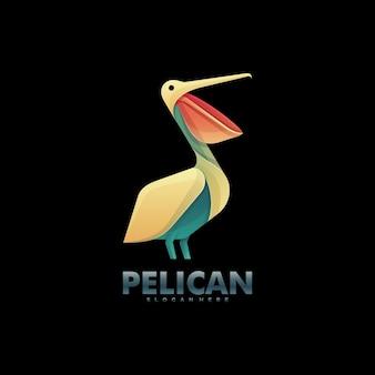 Vector logo illustration pélican gradient style coloré.