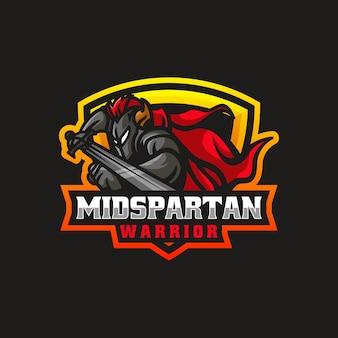 Vector logo illustration spartan warrior e sport et style sport