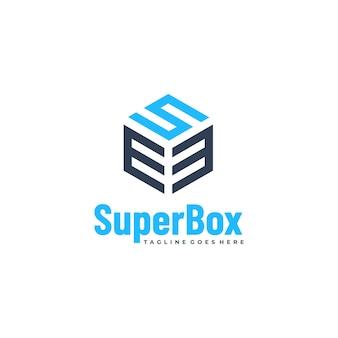 Vector logo illustration super box line art style.