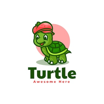 Vector logo illustration tortue mascotte dans style dessin animé