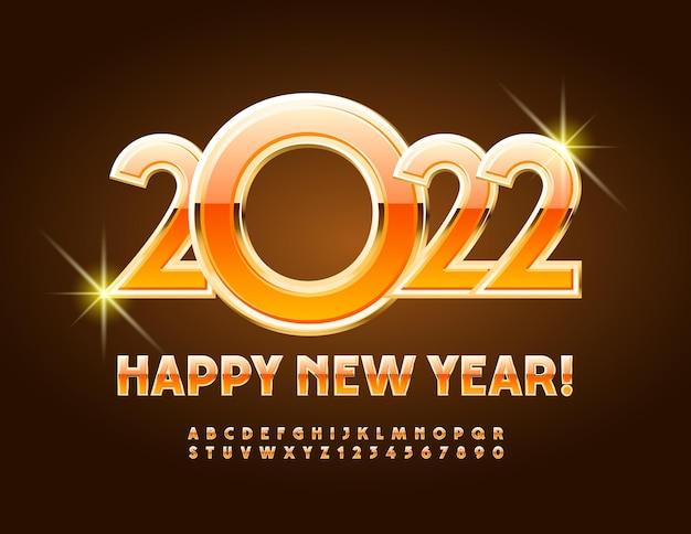 Vector luxe carte de voeux happy new year 2022 orange et or brillant polices de luxe alphabet set