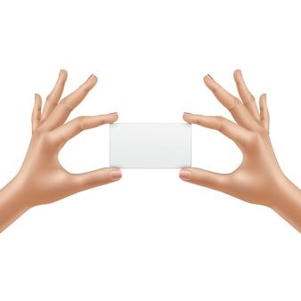 Vector mains féminines tenant une carte vierge isolé sur fond blanc