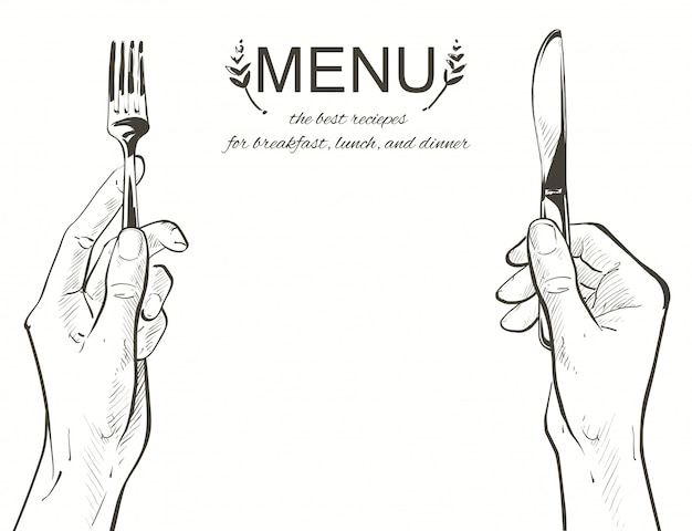 Vector mains tenant un couteau et une fourchette